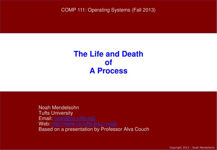 the life and death of a process n.