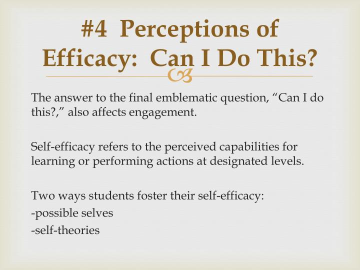 #4  Perceptions of Efficacy:  Can I Do This?