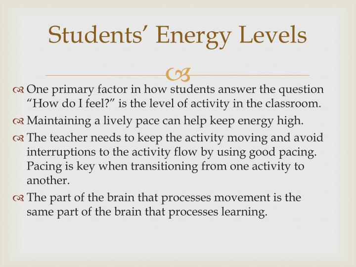 Students' Energy Levels