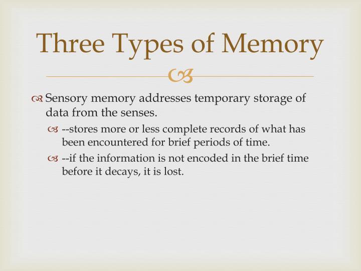 Three Types of Memory