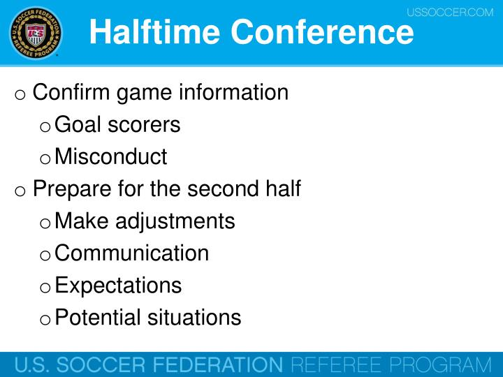 Halftime Conference