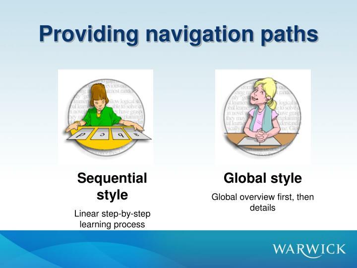 Providing navigation paths