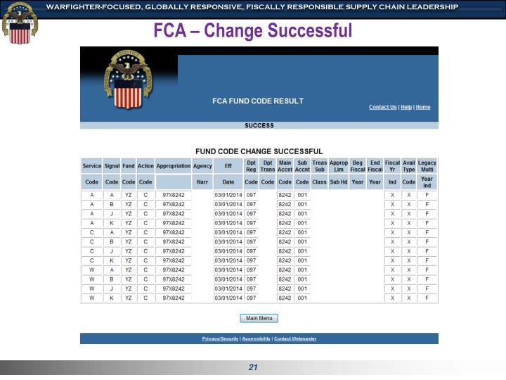 FCA – Change Successful