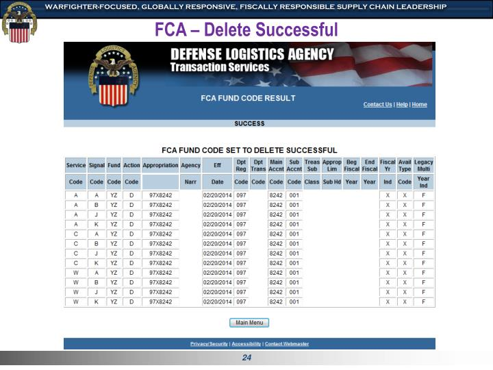 FCA – Delete Successful