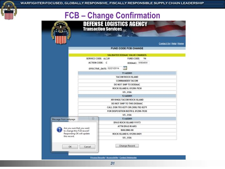 FCB – Change Confirmation