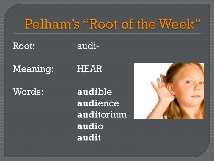 Pelham s root of the week