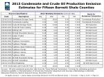 2013 condensate and crude oil production emission estimates for fifteen barnett shale counties