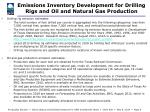 emissions inventory development for drilling rigs and oil and natural gas production