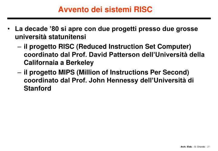 Avvento dei sistemi RISC