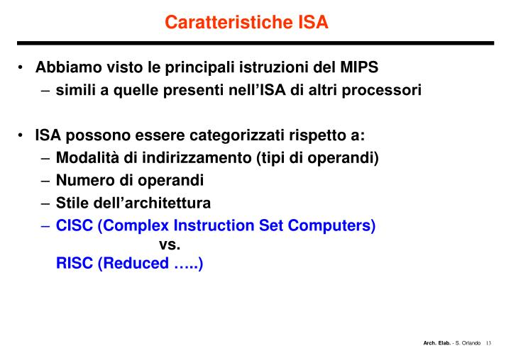 Caratteristiche ISA