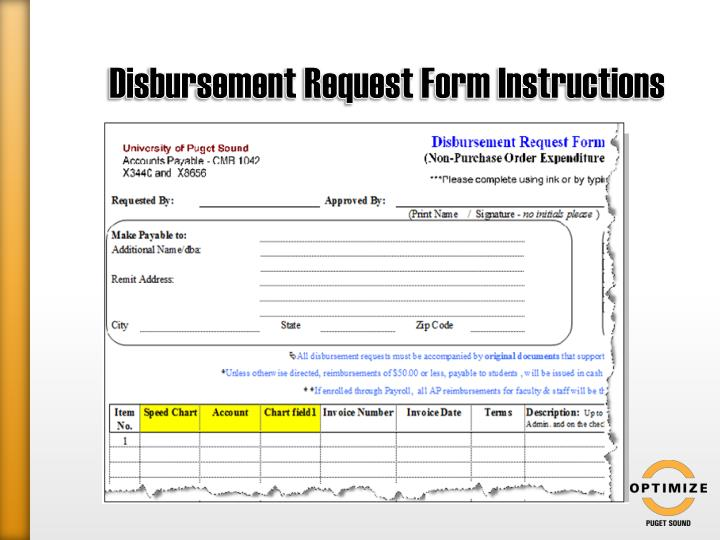 Disbursement Request Form Instructions