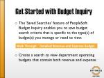 get started with budget inquiry