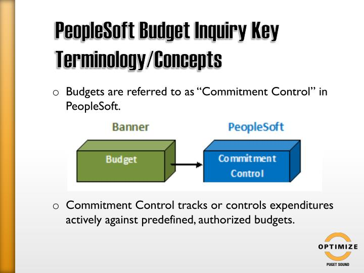 PeopleSoft Budget Inquiry Key Terminology/Concepts