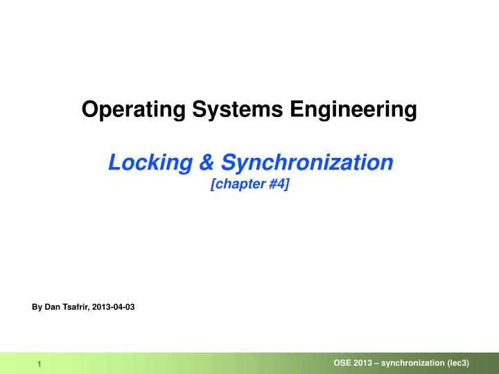 operating systems engineering locking synchronization chapter 4 n.