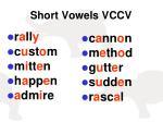 short vowels vccv