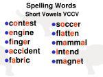 spelling words short vowels vccv