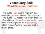 vocabulary skill word structure suffixes