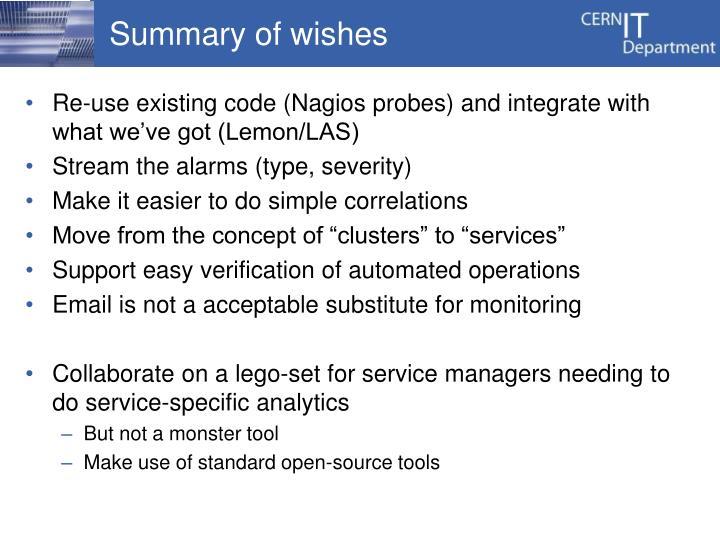 Summary of wishes