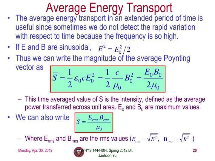 Average Energy Transport