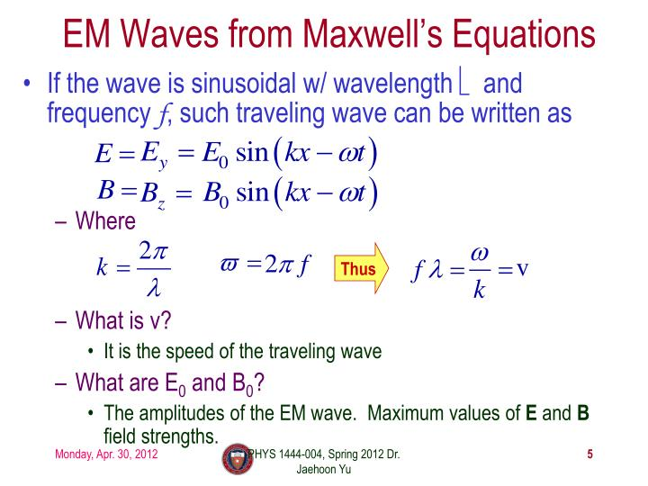 EM Waves from Maxwell's Equations