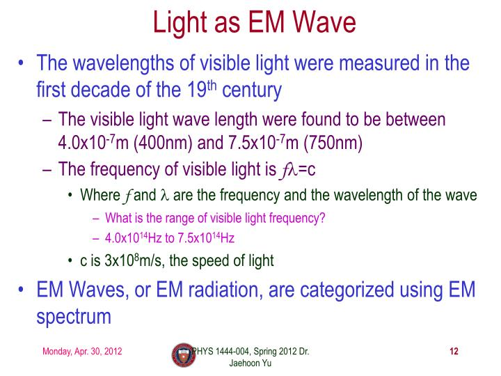 Light as EM Wave