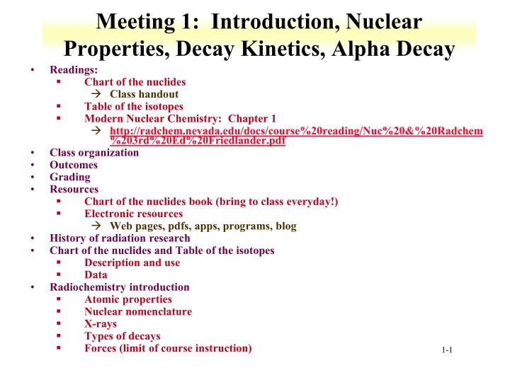 meeting 1 introduction nuclear properties decay kinetics alpha decay n.