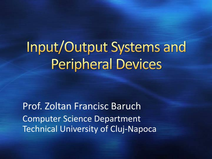 input output systems and peripheral devices n.