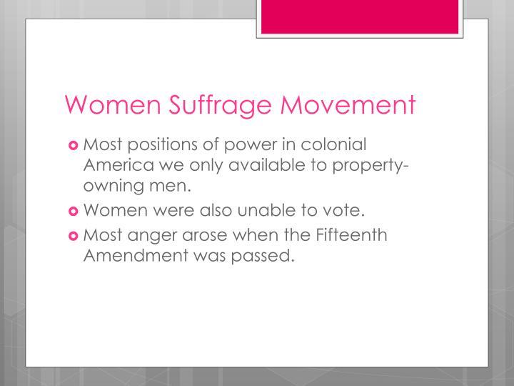 Women Suffrage Movement