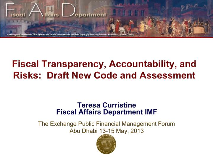 fiscal transparency accountability and risks draft new code and assessment n.