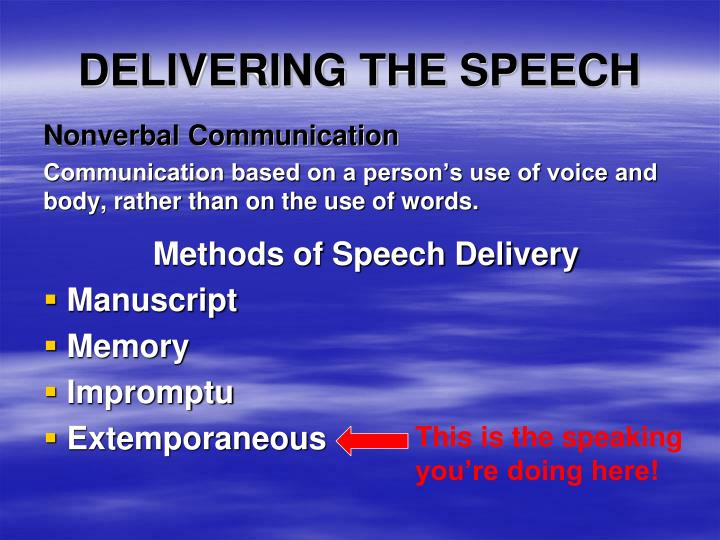 delivering the speech n.