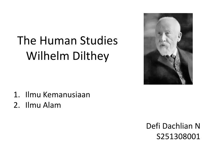 the human studies wilhelm dilthey n.