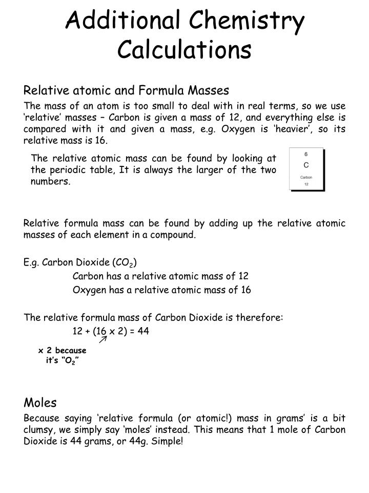 additional chemistry calculations n.