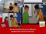 we learned that there are different symbols that stand for america