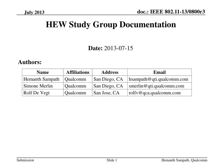 hew study group documentation n.