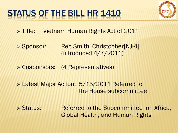 Status of the Bill hR 1410