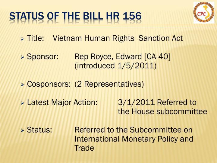 Status of the Bill hR 156