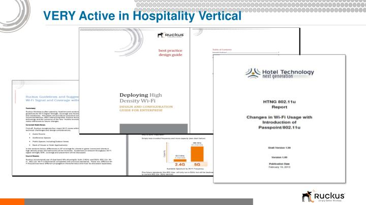 VERY Active in Hospitality Vertical