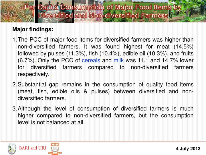 Per Capita Consumption of Major Food Items by        Diversified and Non-diversified Farmers