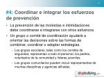 4 coordinar e integrar los esfuerzos de prevenci n