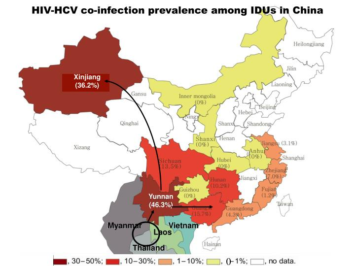 HIV-HCV co-infection prevalence among IDUs in China
