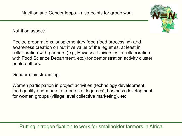 Nutrition and Gender loops – also points for group work