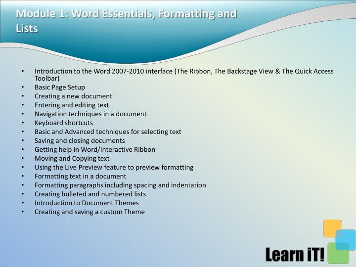 Module 1: Word Essentials, Formatting and Lists