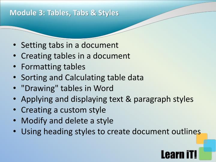 Module 3: Tables, Tabs & Styles