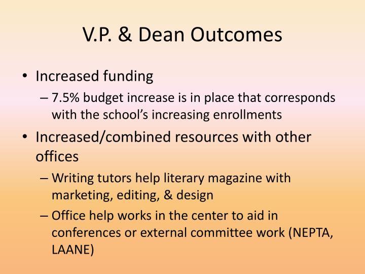 V.P. & Dean Outcomes