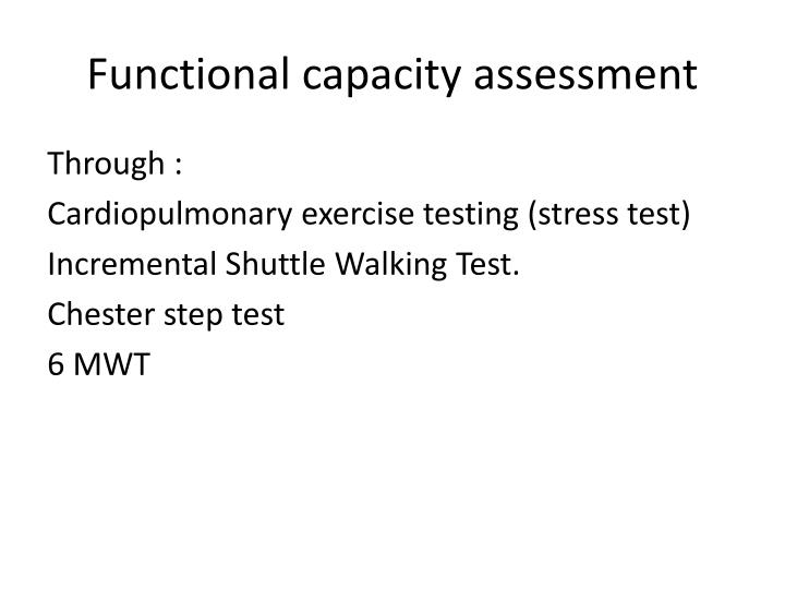 Functional capacity assessment