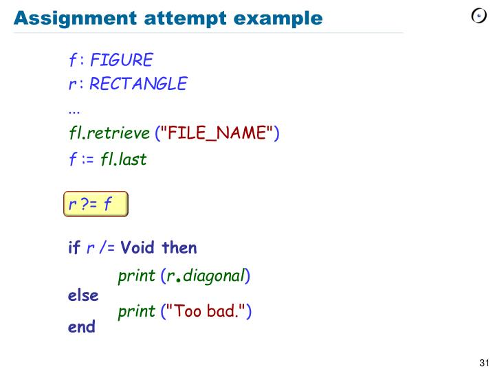 Assignment attempt example