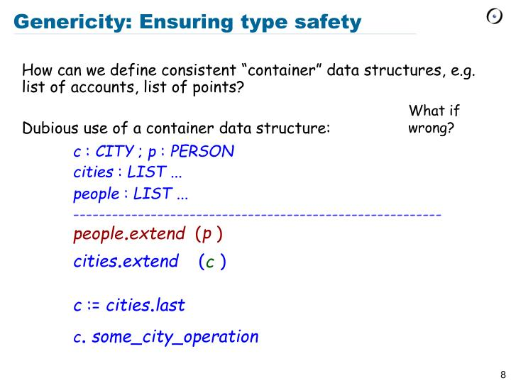 Genericity: Ensuring type safety