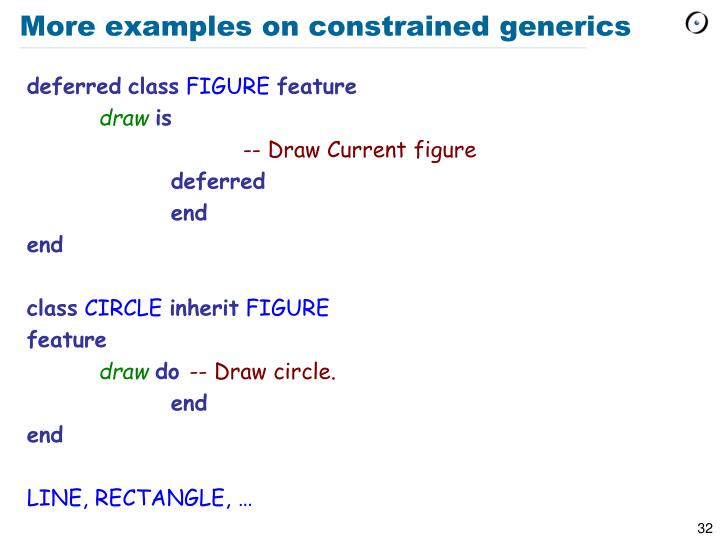 More examples on constrained generics
