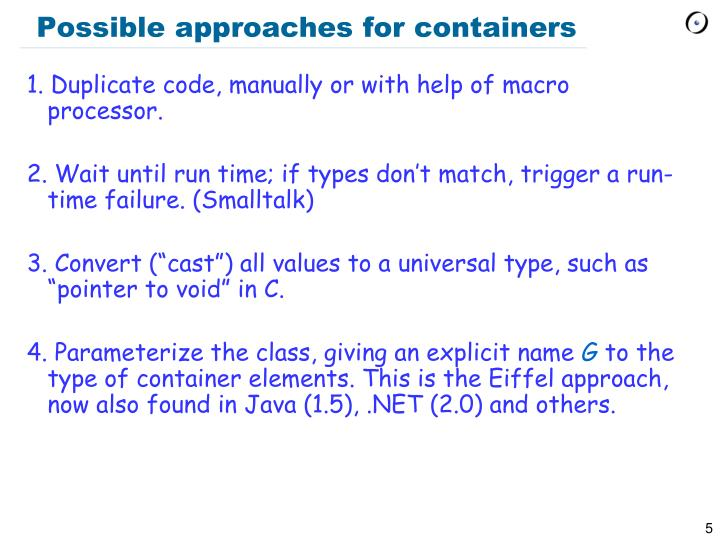Possible approaches for containers
