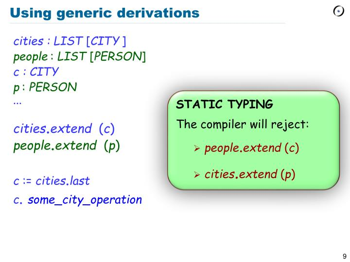 Using generic derivations
